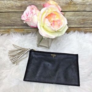 Fossil 1954 Black Pebbled Leather Wallet Clutch